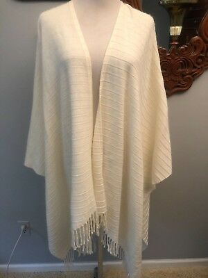 Croft And Barrow Sweater Shall Poncho One Size With Tassels Off White