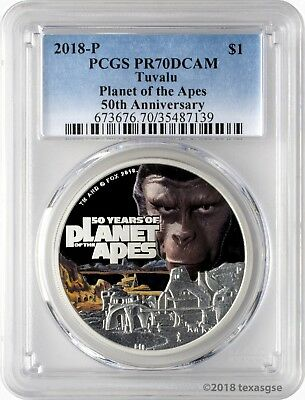 2018-P $1 Tuvalu 50 Years of Planet of the Apes 1oz Silver Coin PCGS PR70DCAM