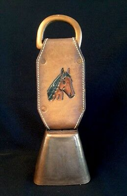 Vintage Tooled Leather Strap HORSE HEAD Equestrian Bridle Copper Bell COWBELL