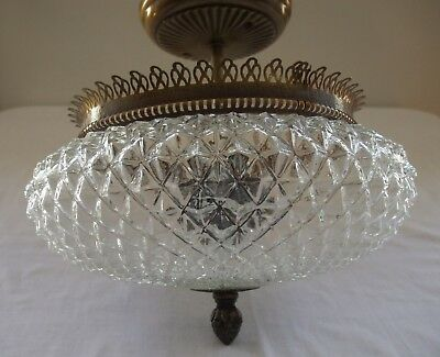 Vintage Round Glass Hanging Ceiling Mount Light Fixture With Brass Flushmount