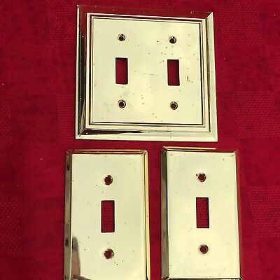 Solid Brass Switch Plate - Vintage '05 Liberty Hardware 1 Double 2 Singles