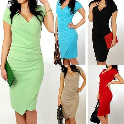Women Deep V Neck Pencil Casual Work Office Party Wear Bodycon Pencil Dress Jian