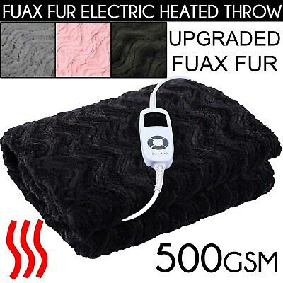 FAUX FUR 500 GSM HEATED ELECTRIC THROW RUG Snuggle Blanket Washable DREAMAKER