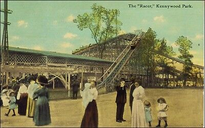 Amusement Park Ride: Racer Roller Coaster, Kennywood, W Mifflin, PA. Pre-1920.
