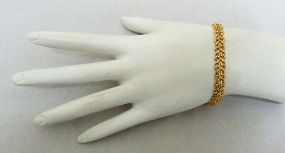 "Italy 14K Gold Fancy Engraved Double Link Chain Bracelet ~ 7 1/8"" Long 5.2 Grams"