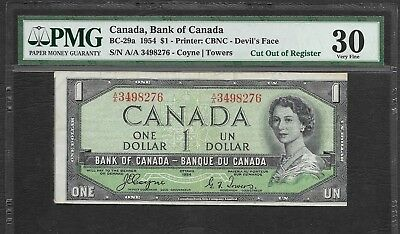 Rare 1954 Canada $1 Devils Face Error Cut Out Of Register - Showing Next Note