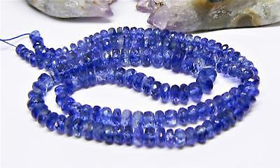 RARE NATURAL CORNFLOWER BLUE FACETED KYANITE BEADS STRAND 4-7mm 97ct 15.5""