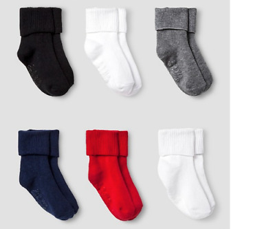 Cat & Jack Boys' Solid Ankle Sock with Gripper 6 pk. 2-3T Blk/Blue/Red/White