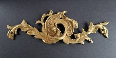 "ANTIQUE VINTAGE FRENCH BRONZE ORMOLU FURNITURE PEDIMENT DECORATION SWAG 7""w.#Z34"