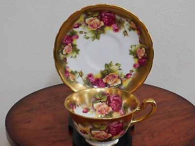 Vintage Royal Chelsea Golden Rose Teacup Tea Cup and Saucer, Made in England