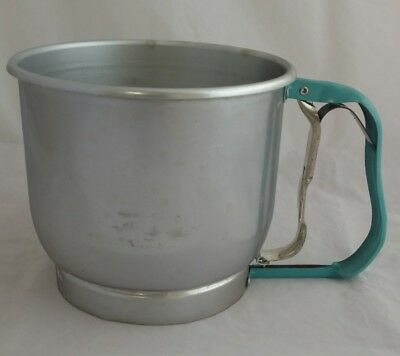 Vintage FOLEY Single Screen Aluminum 5-Cup Flour Sifter with Turquoise Handle