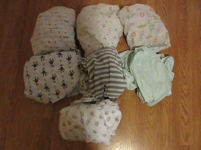 Boy's or neutral  CRIB SHEET LOT 7 prints, 100% cotton, 1 jersey, assorted brand