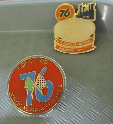 Nice 2pc UNOCAL 76 LOS ANGELES REFINERY Lapel Pin Lot Good Job (AP304