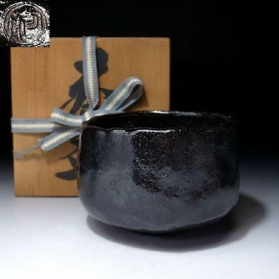ZL4: Vintage Japanese Tea Bowl, Raku Ware with wooden box, KURO RAKU