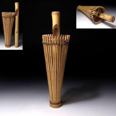 ZQ9: Vintage Japanese Woven Bamboo Vase for Hanging, Umbrella, Tea ceremony