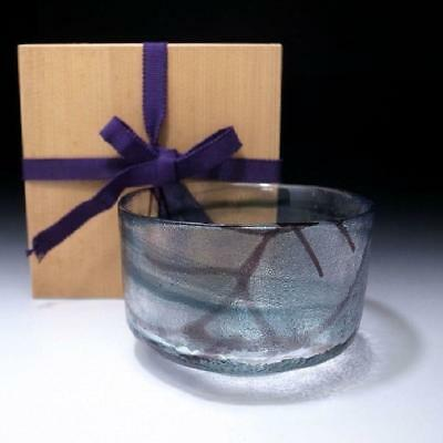 ZJ7: Vintage Japanese Glass Tea bowl with wooden storage box
