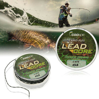 Lead Core Hook Line Braided Camouflage Carp Fishing Tackle Rig Fish Accessory Uk