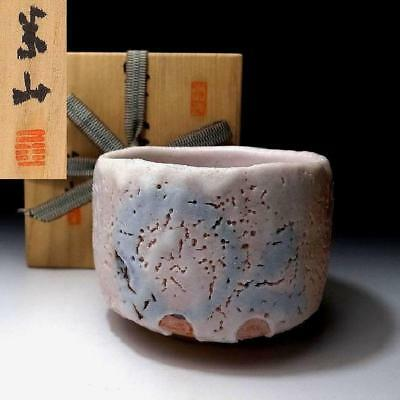 ZM8: Vintage Japanese Pottery Tea bowl, Shino ware with Signed wooden box, White
