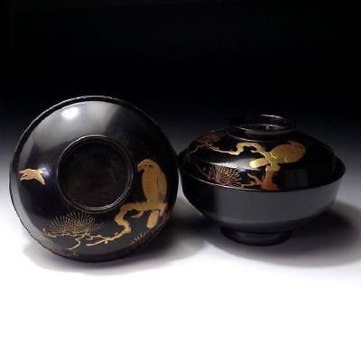 ZG2:  Vintage Pair of Japanese Lacquered Wooden Covered Bowls, Gold Maki-e, HAWK