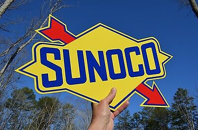 """Old Style Large 24"""" Sunoco Motor Oil Diecut Arrow Thick Steel Sign Made In Usa"""
