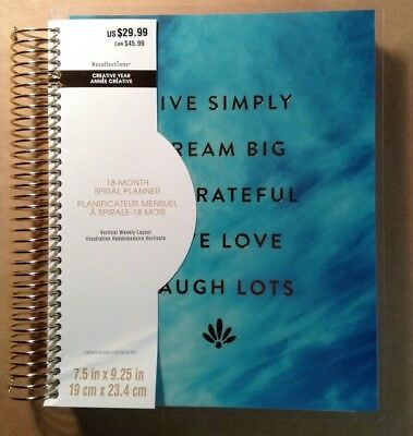 """NEW! 2018-2019 Creative Year """"BLUE LIVE SIMPLY"""" VERTICAL Spiral Planner 18-Mo."""