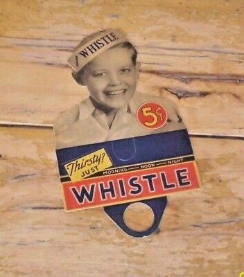 ANTIQUE Whistle Soda Boy NOS Cardboard Bottle Topper 1940 W.C. 352 Pop Ephemera