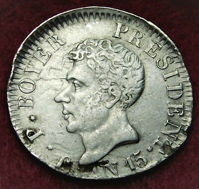 """Haiti 1818 (""""AN 15"""") 25 Centimes Silver Coin in EXTRA FINE - AU Condition"""