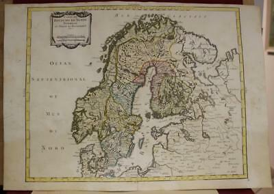 Sweden Norway Baltic Countries 1743 Bourgoin Unusual Antique Copper Engraved Map
