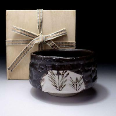 NM3: Vintage Japanese Tea bowl, Oribe ware with wooden storage box, KURO ORIBE