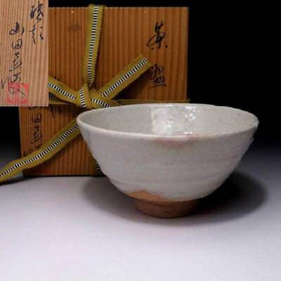 RQ5: Vintage Japanese Pottery Tea Bowl of Hagi Ware with Signed wooden box