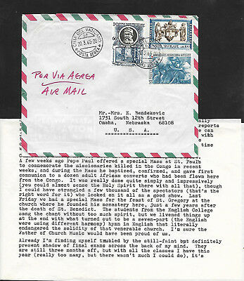 VATICAN CITY 1965 AIRMAIL COVER to OMAHA, NEBRASKA--RED CROSS and LETTER INSIDE