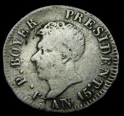 """Haiti 1818 (""""AN 15"""") 25 Centimes Silver Coin in VERY GOOD Condition (VERY RARE)"""