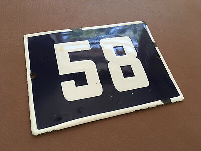 ANTIQUE VINTAGE ENAMEL SIGN HOUSE NUMBER 58 BLUE DOOR GATE STREET SIGN 1950's