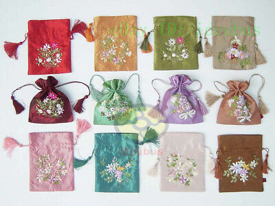 12PCS MIXED hand embroidered Satin Drawstring Wristlet Purses Wallet Coin bags