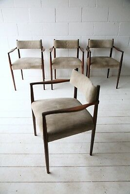 Beautiful Rare Vintage 1950s Solid Rosewood Dining Chairs by Robert Heritage