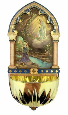 Our Lady of Lourdes Gold Embossed Laser Cut Wood Holy Water Font, 5 Inch