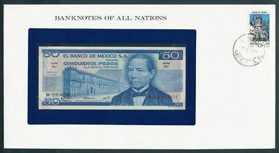 Mexico: 1973 50 Pesos Banknote & Stamp Cover, Banknotes Of All Nations Series