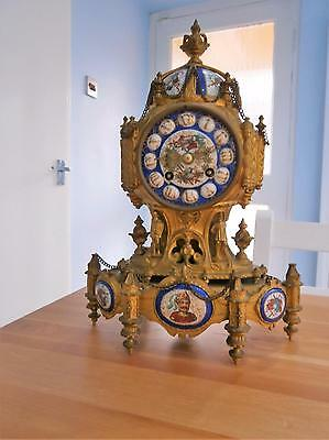 French Ormolou & Porcelain Eight Day Bell Striking Clock Serviced & Overhauled