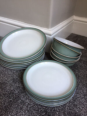 Denby Regency Green 6 dinner plates, 5 side plates & 5 bowls.