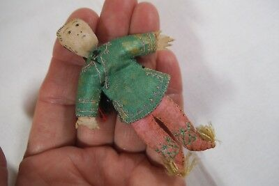 """Vintage 3"""" Chinese Folk Doll-SILK over Paper - Hand EMBROIDERED,Painted,Sewn"""