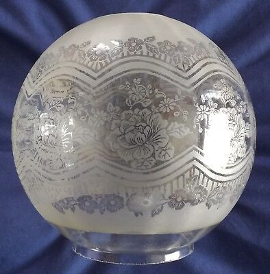 Good Victorian Ribbed & Etched Glass Oil Lamp Shade