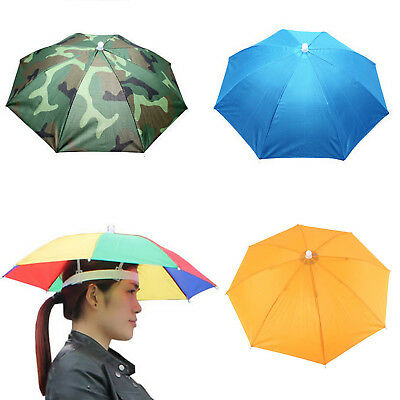 Outdoor Foldable Sun Umbrella Hat Golf Fishing Camping Headwear Cap Head Hat 1PC