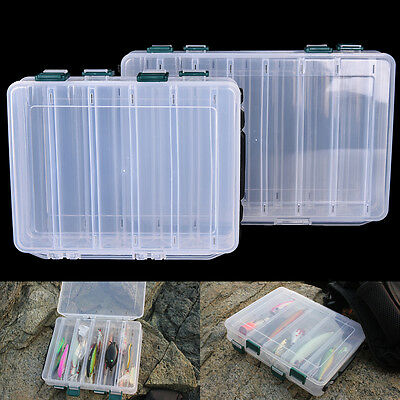 Double Sided 10/14 Compartment Fishing Lures Tackle Hooks Baits Storage Box MW