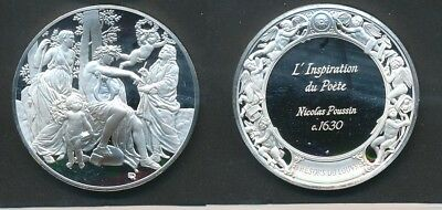 France: Louvre - Inspiration of the Poet, Nicolas Poussin, 40g Silver Medal 45mm