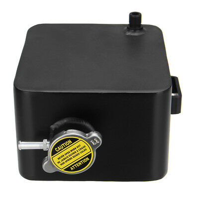 Black 2L Aluminium Coolant Radiator Overflow Recovery Water Tank Bottle Can New