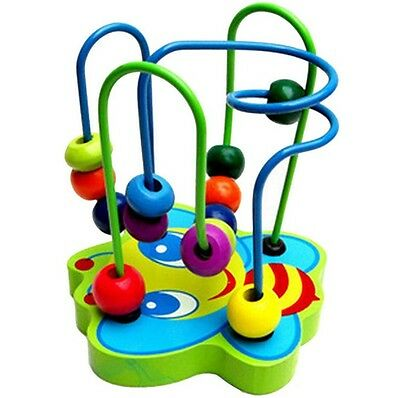 Educational Baby Kids Toy Wooden Around Beads Toddler Infant Intelligence Tool