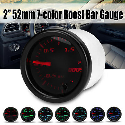 2'' 52mm 7 Color LED Medidor Indicador Vacío Turbo Boost Bar Presión Gauge Coche