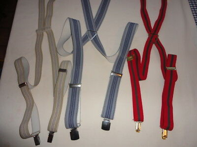 Lot of 3 Vintage Men's Striped Suspenders Assorted Colors