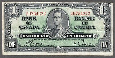 1937 Bank of Canada - $1.00 Bank Note - Very Fine - Coyne Towers R/N 9754272