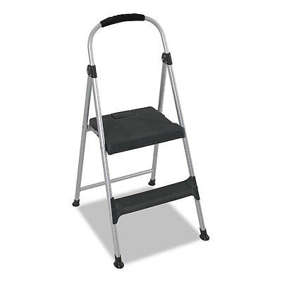 "Cosco Aluminum Step Stool 2-Step 225lb 18 9/10"" Working Height Platinum/Black"